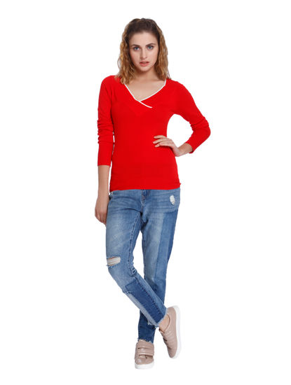 Bright Red V- Neck Slim Fit Pullover