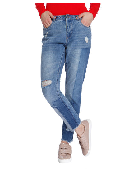 Light Blue Patchwork Mid Rise Boyfriend Jeans