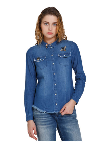 Blue Embellished Denim Shirt