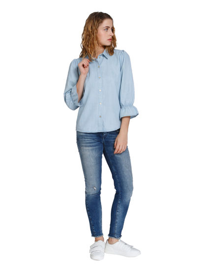 Light Blue Ruffle Sleeves Denim Shirt
