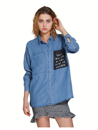 Blue Text Print Oversized Denim Shirt