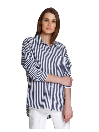 White & Grey Striped Shirt