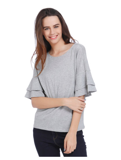 Grey Frill Sleeves Top