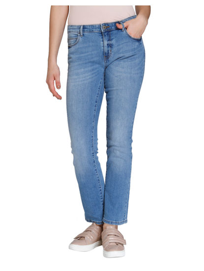 Light Blue Medium Rise Straight Fit Jeans