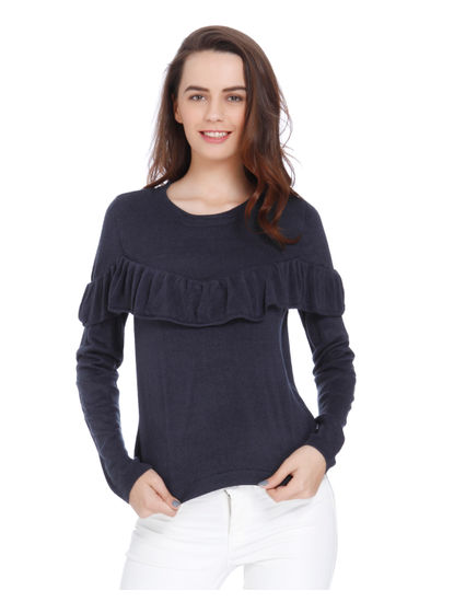 Blue Frill Detail Slim Fit Pullover