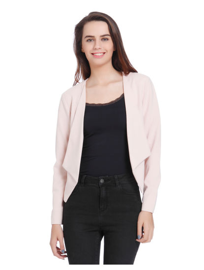 Light Pink Front Open Short Blazer