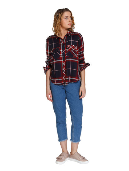 Dark Blue and Red Check Shirt
