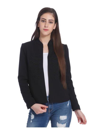 Black Embroidered Blazer
