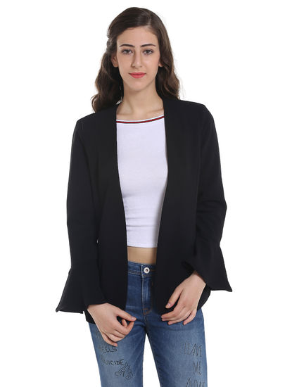 Black Bell Sleeves Blazer