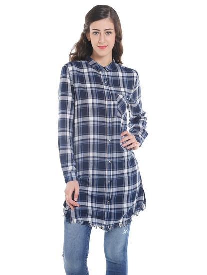 Dark Blue Check Frayed Hem Long Shirt