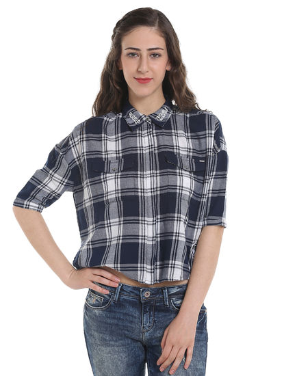 Dark Blue Slogan Print Check Shirt