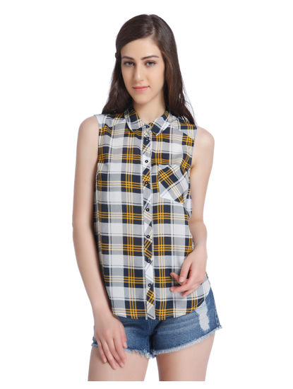 Yellow Check Sleeveless Shirt