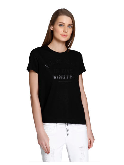 Black Shiny Text Print Boxy T-Shirt