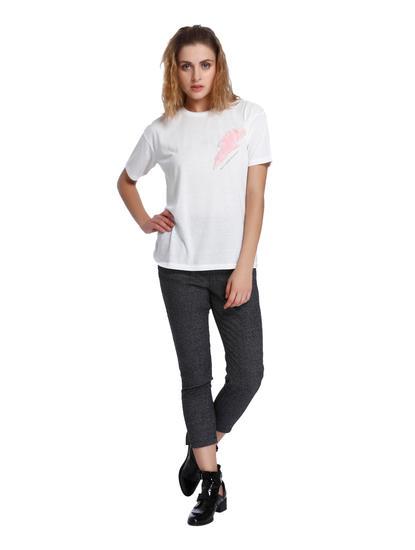 White Faux Fur Detail T-Shirt