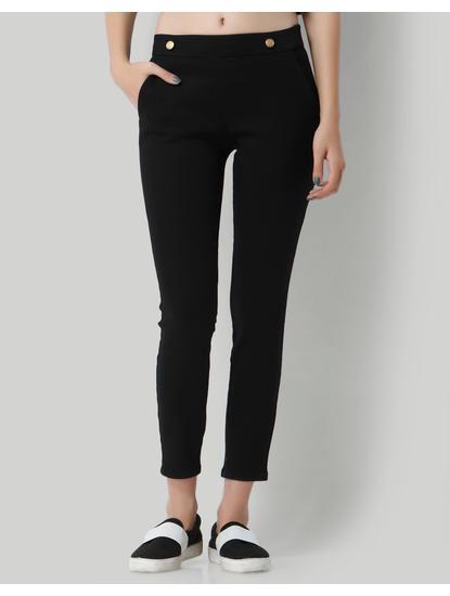 Black Button Detail Mid Rise Slim Fit Pants