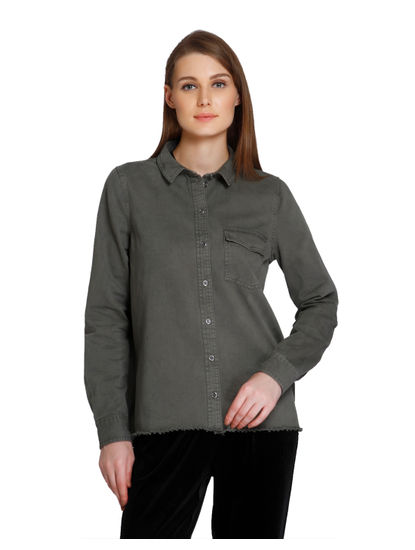 Olive Green Snake Print Embroidered Shirt