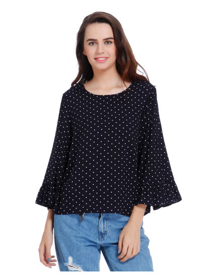 Blue Polka Dot Flared Sleeves Top