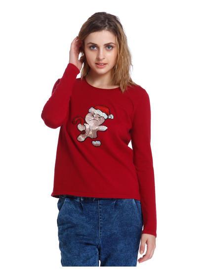 Red Gingerbread Man Sequined Sweatshirt