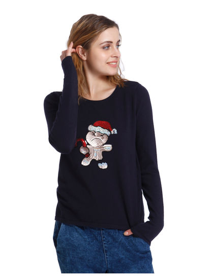 Dark Blue Gingerbread Man Sequined Sweatshirt