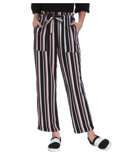 Brown Striped Mid Rise Tie Waist Pants