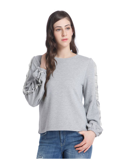 Grey Frill Detail Sleeves Sweatshirt