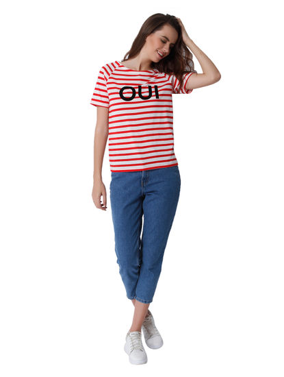 Red Striped Text Print Top