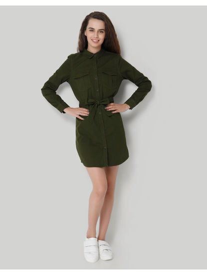 Green Tie Up Midi Shirt Dress