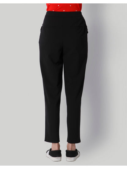 Black High Waist Ankle Length Pants