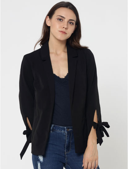 Black Bow Sleeves Blazer