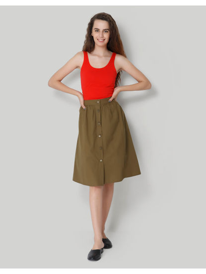 Olive Green High Waist Buttoned Midi Skirt