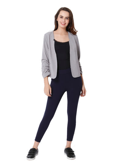 Light Grey Ruched Sleeves Blazer