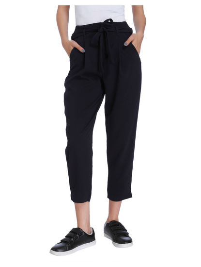 Dark Blue Tie Waist Mid Rise Ankle Length Pants