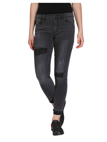 Dark Grey Distressed & Studded Medium Rise Skinny Fit Jeans