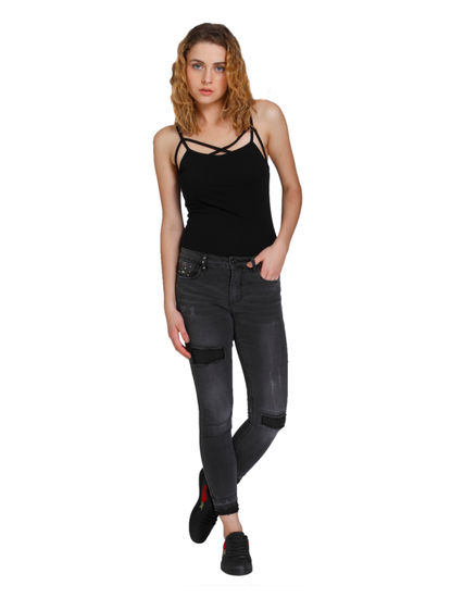 Dark Grey Distressed & Studded Medium Rise Skinny Fit Jeans