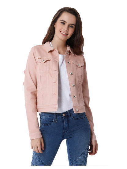 Peach Frill Detail Cropped Jacket