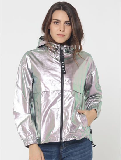 Silver Metallic Hooded Jacket