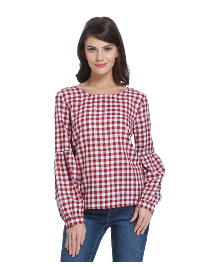 Red Gingham Balloon Sleeves Top