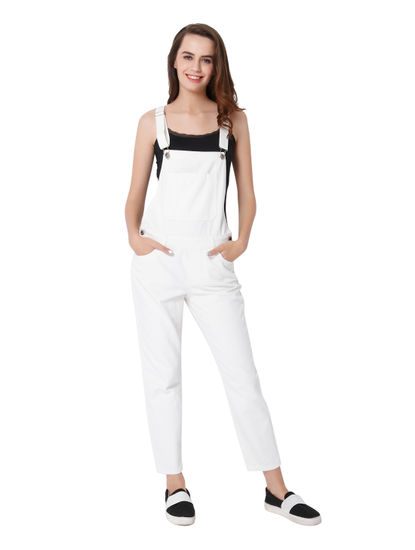 White Slim Dungaree