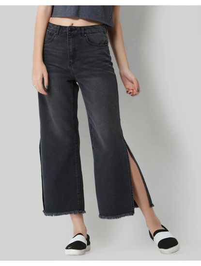 Black Mid Rise Split Ankle Denim Culottes