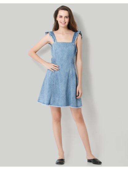 Light Blue Deep Back Denim Mini Dress