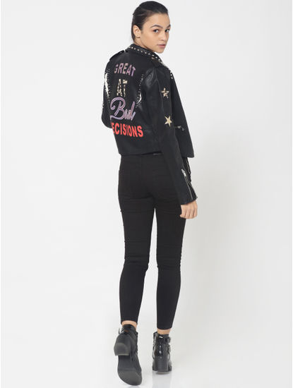 Black Faux Leather Studded Text Print Biker Jacket