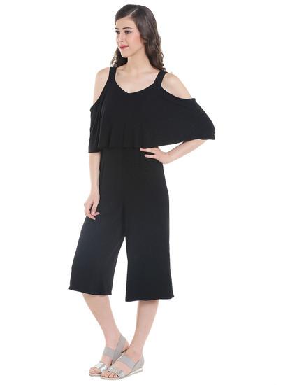 Black Cold Shoulder Culottes Jumpsuit