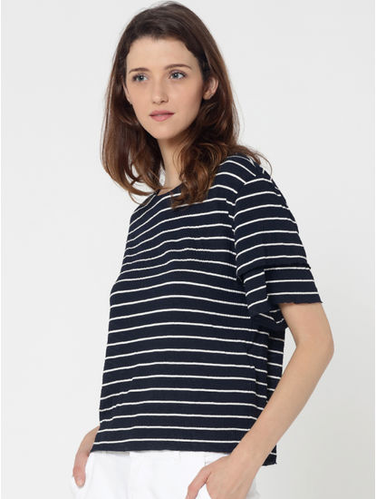 Blue Striped Tiered Sleeves Top