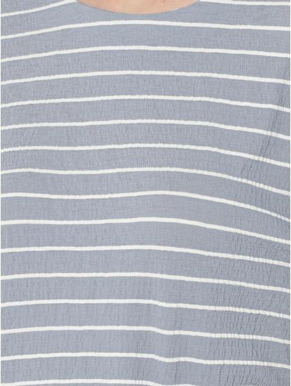 Dark Blue Striped Tiered Sleeves Top