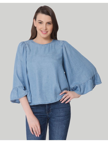 Blue Flared Sleeves Denim Top