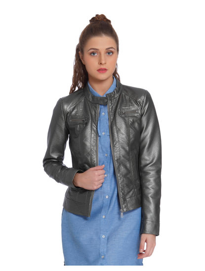 Metallic Grey PU Biker Jacket