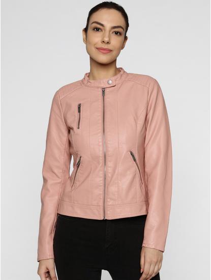 Rose Front Zip Up Biker Jacket