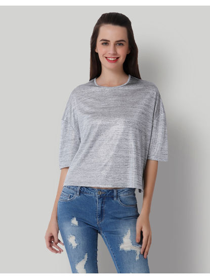 Grey Drop Shoulder Crop Top