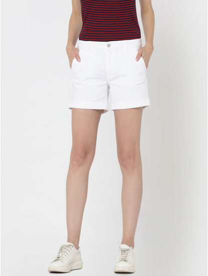 White Mid Rise Slim Fit Denim Shorts