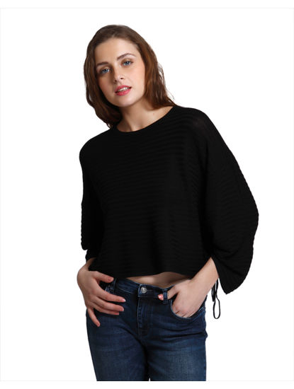 Black Striped Relaxed Fit Pullover